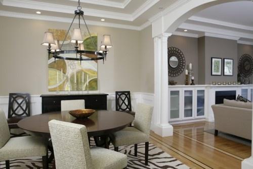 Living room: Benjamin Moore, Mesa Verde Tan, flat latex.  Dining room: Benjamin Moore, Bleeker Beige, flat latex