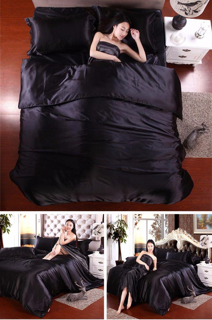 Beddingoutlet шелковые одеяла черный атласные простыни постельное белье хлопок твердых атлас Пододеяльник Набор King Size Простыни 4 шт. Постельных Принадлежностей наборы купить на AliExpress
