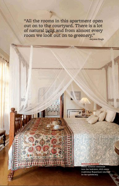 Bring a touch of the tropics to your bedroom with this airy canopy bed