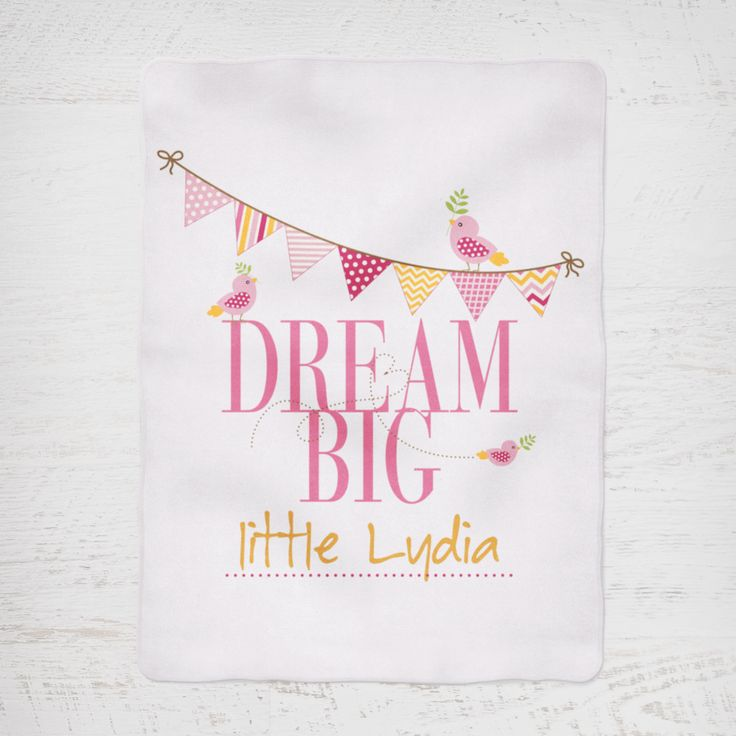Colour and Spice Personalised Blanket Dream Big Pink