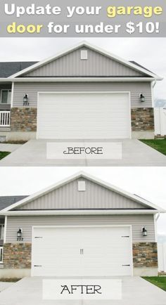 Creative Ways to Increase Curb Appeal on A Budget - Easy Carriage Style Garage Doors - Cheap and Easy Ideas for Upgrading Your Front Porch, Landscaping, Driveways, Garage Doors, Brick and Home Exteriors. Add Window Boxes, House Numbers, Mailboxes and Yard Makeovers http://diyjoy.com/diy-curb-appeal-ideas