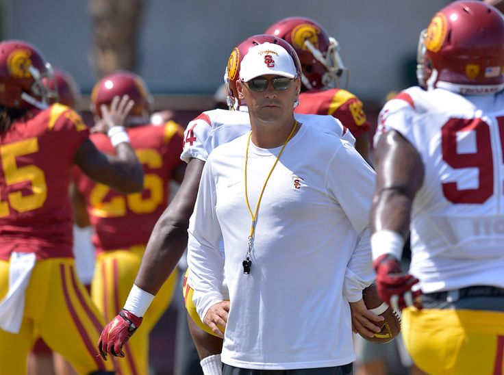 Coach Steve Sarkisian. The USC football team held practice in full game uniform on this saturday during fall training camp. Practice was held on the Howard Jones Field at USC. Los Angeles, CA 8/22/2015 (photo by John McCoy Daily News)