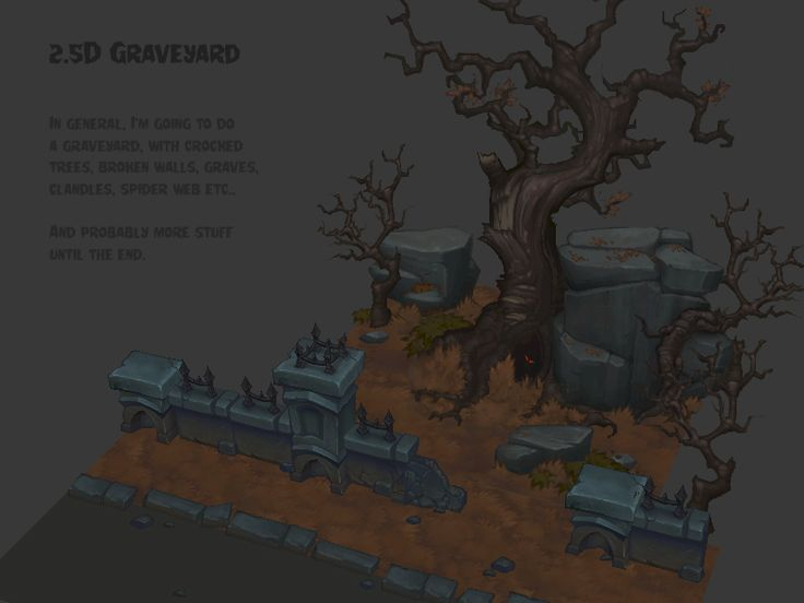 Handpainted graveyard 2.5D Style. — polycount
