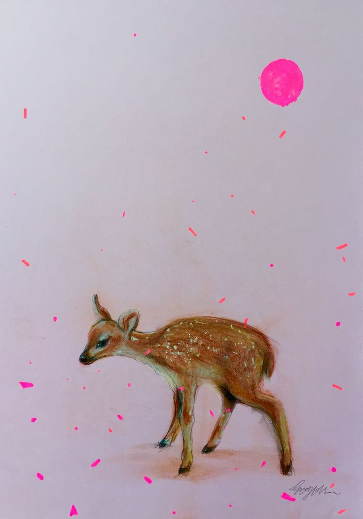 """""""Fawn"""" © pastel drawing 46 x 26 cm"""