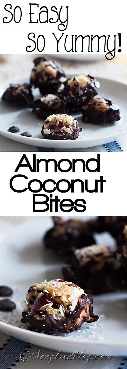 Very easy and very yummy almond, coconut bites. These gluten-free, paleo, primal snacks will satisfy your sweet tooth but they only take 15 minutes to make. http://www.songbirdblog.com