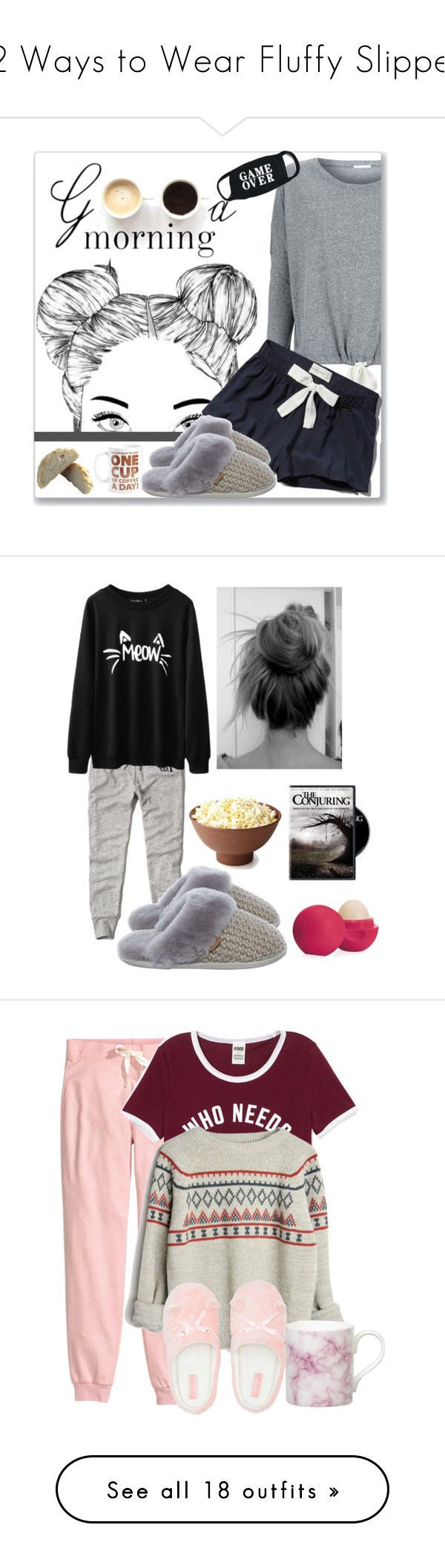 """""""12 Ways to Wear Fluffy Slippers"""" by polyvore-editorial ❤ liked on Polyvore featuring slippers, waystowear, Eberjey, Abercrombie & Fitch, Just Sheepskin, Lulu*s, Big Mouth, Eos, shoes and grey"""