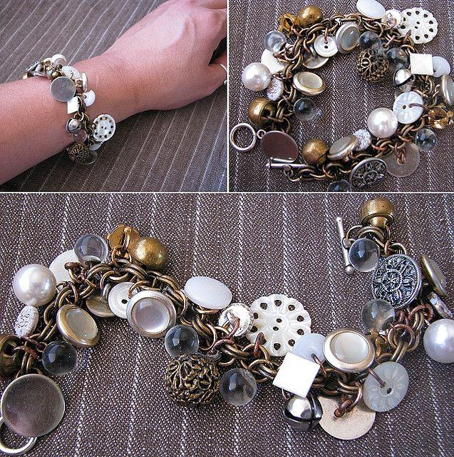 gypsy button bracelet by Regina (creative kismet), via Flickr...grandma's button jar