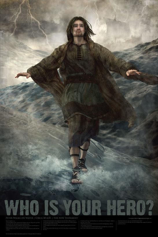 We bought this Peter Walks on the Water Bible hero poster for the boys' room.