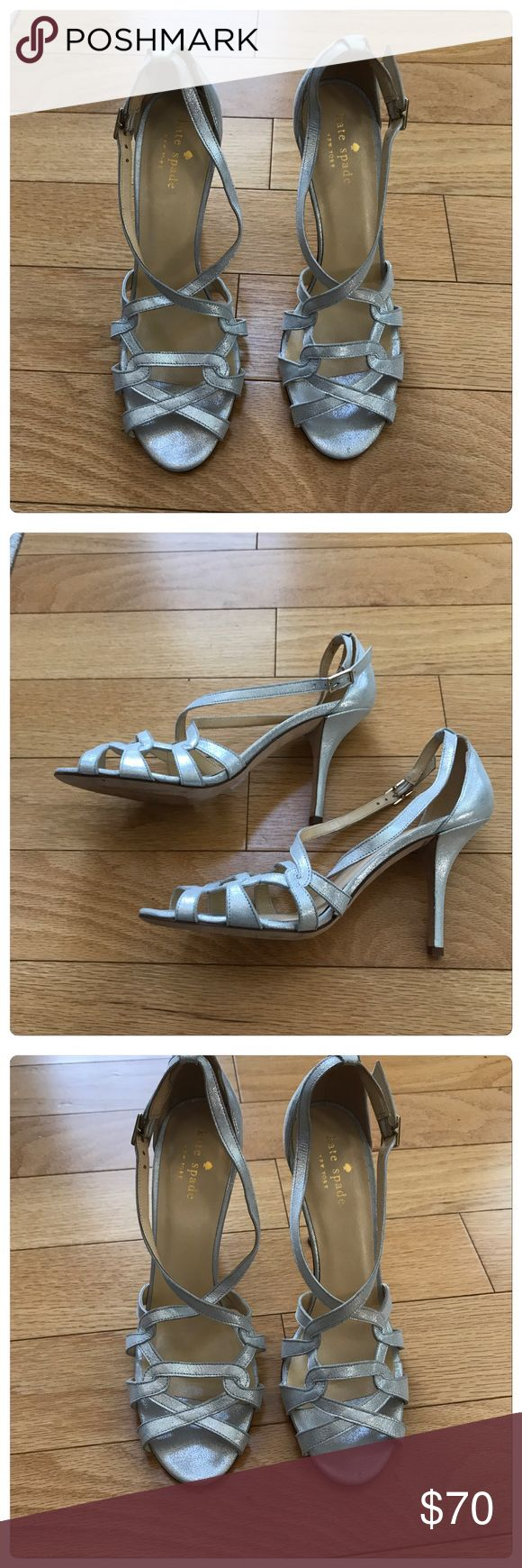 Kate Spade, Beautiful Silver Strappy Sandals! Kate Spade, Beautiful Silver Strappy Sandals/Heels. Multi strap design with adjustable ankle strap. Absolutely stunning! Only worn once in perfect condition. Size 7. 🚫No Trades kate spade Shoes Heels