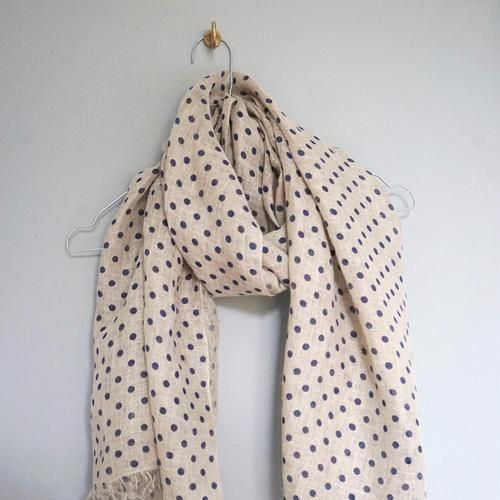 LINEN SCARF by Tikau (Blue Dots)