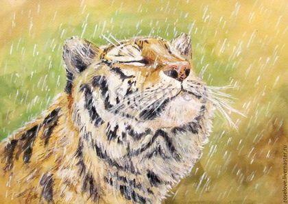 """Картина """"Наслаждаясь жизнью..""""Акварель.Пастель.Животные.Тигр.Дождь.\r\nКатерины Аксеновой."""