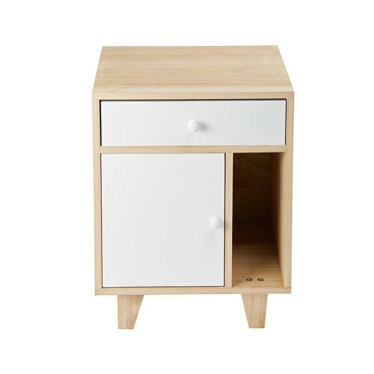 Nachttisch mit 1 Tür und 1 Schublade aus Paulownienholz, weiß Spring