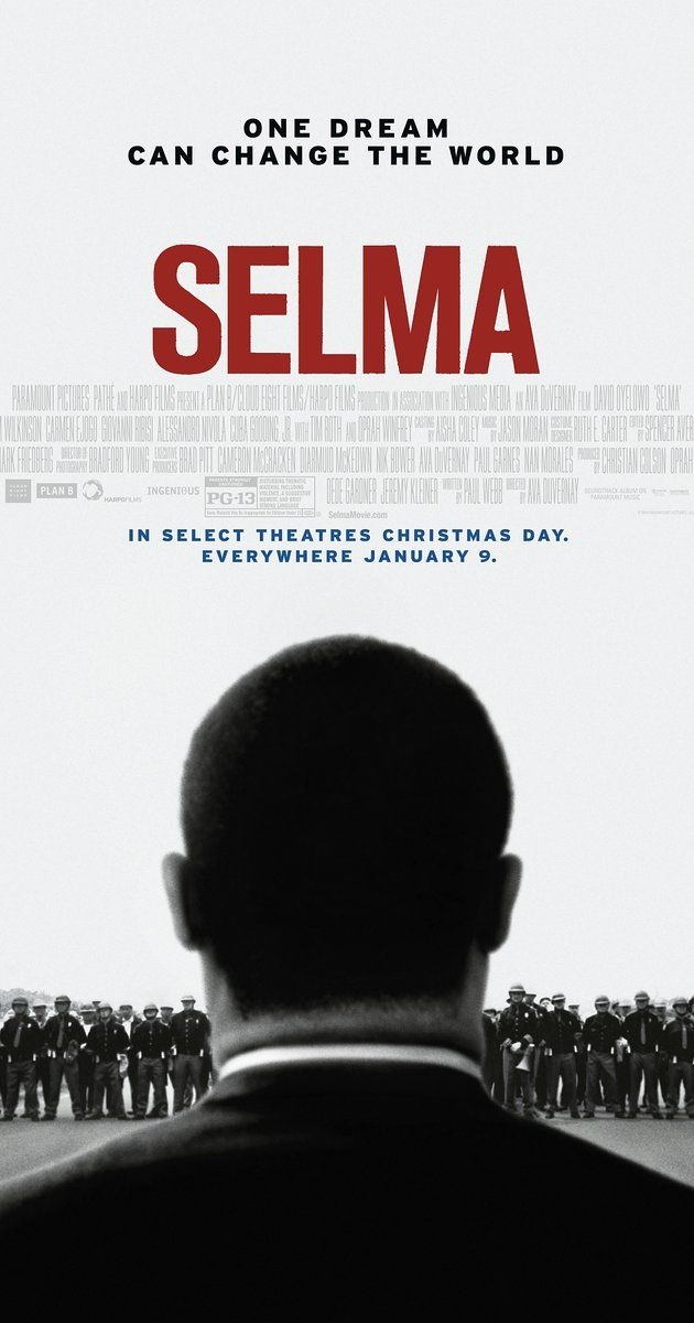 Directed by Ava DuVernay.  With David Oyelowo, Carmen Ejogo, Tim Roth, Lorraine Toussaint. A chronicle of Martin Luther King's campaign to secure equal voting rights via an epic march from Selma to Montgomery, Alabama in 1965.