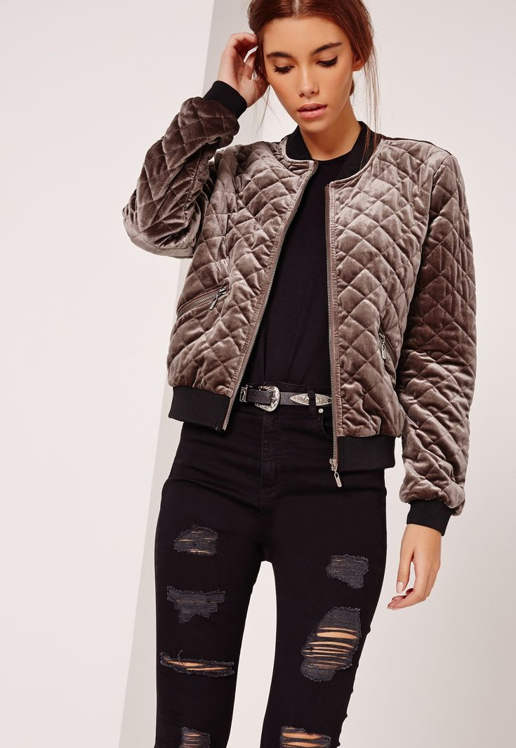 Missguided - Quilted Bomber Jacket Brown