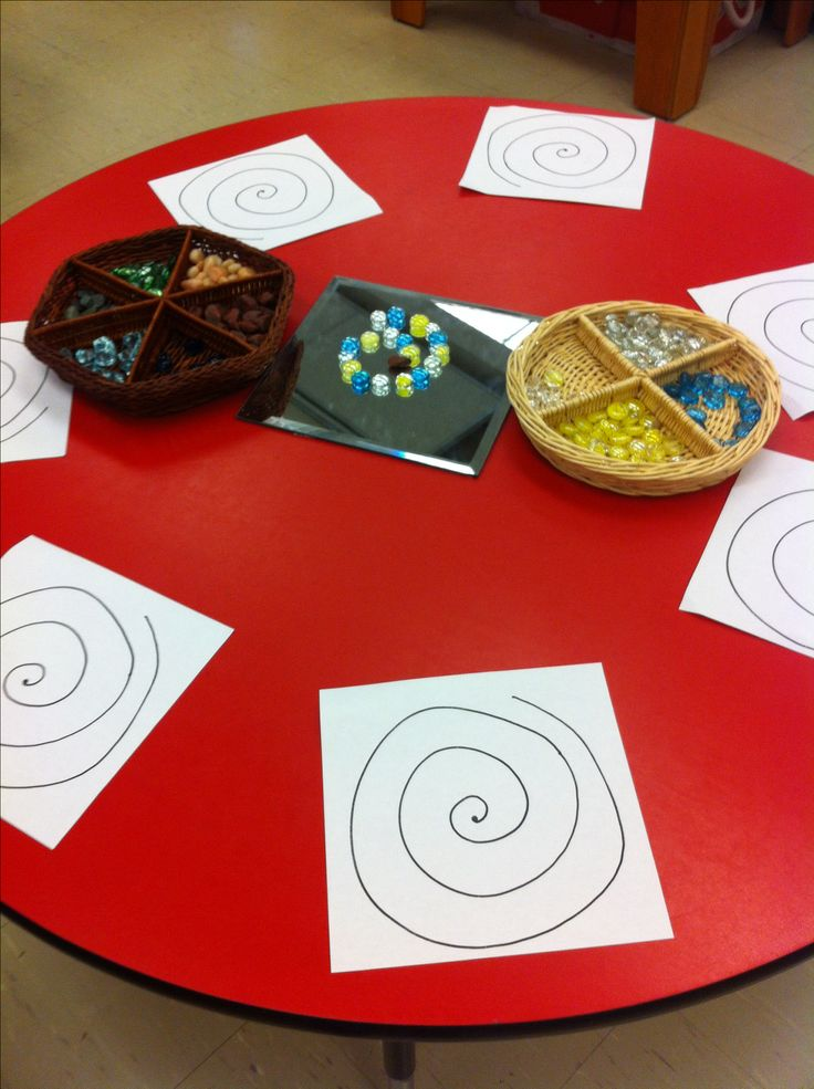 Spirals and loose parts discovery bin.