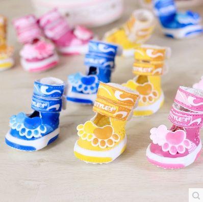 4 pçs/set Bom linda impressões da pata do cão do animal de Estimação Sapatos Cão sandálias sapatos de verão respirável não-slip 5 tamanhos(China (Mainland))