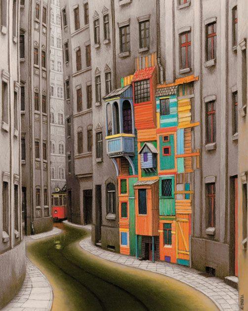 """My Mokotowska street"", by Jacek Yerka"