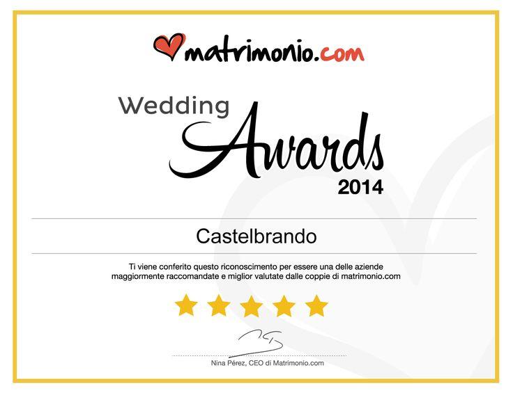 Siamo felici ed orgogliosi di aver ricevuto il Wedding award da parte degli sposi del portale Matrimionio.com...grazie! http://bit.ly/1f9JI2k  #Wedding #award for #CastelBrando! A praise from the bride and groom of the website Matrimonio.com...Thank You!