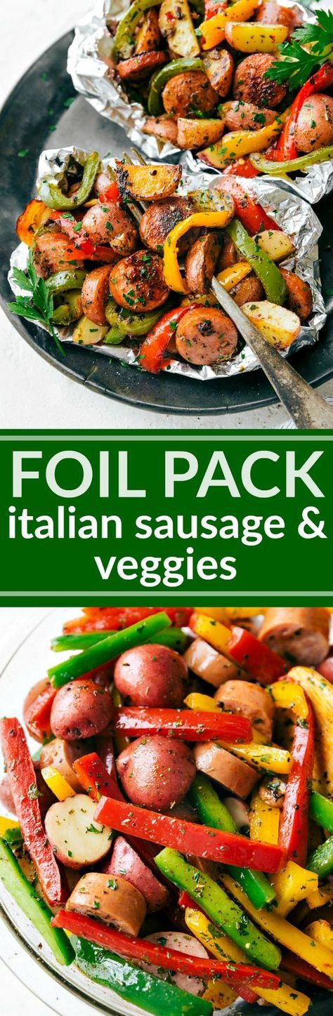"""Foil Pack Italian Sausage and Veggies Recipe via Chelsea's Messy Apron """"Italian seasoned sausage and veggies made in a foil pack! A great outdoor grill or camping recipe. PLUS instructions to cook this in the stove and without foil!"""""""