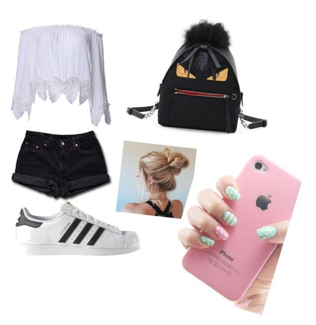 """Untitled #12"" by valentinarodriguez-iii on Polyvore featuring Levi's, adidas and Fendi"