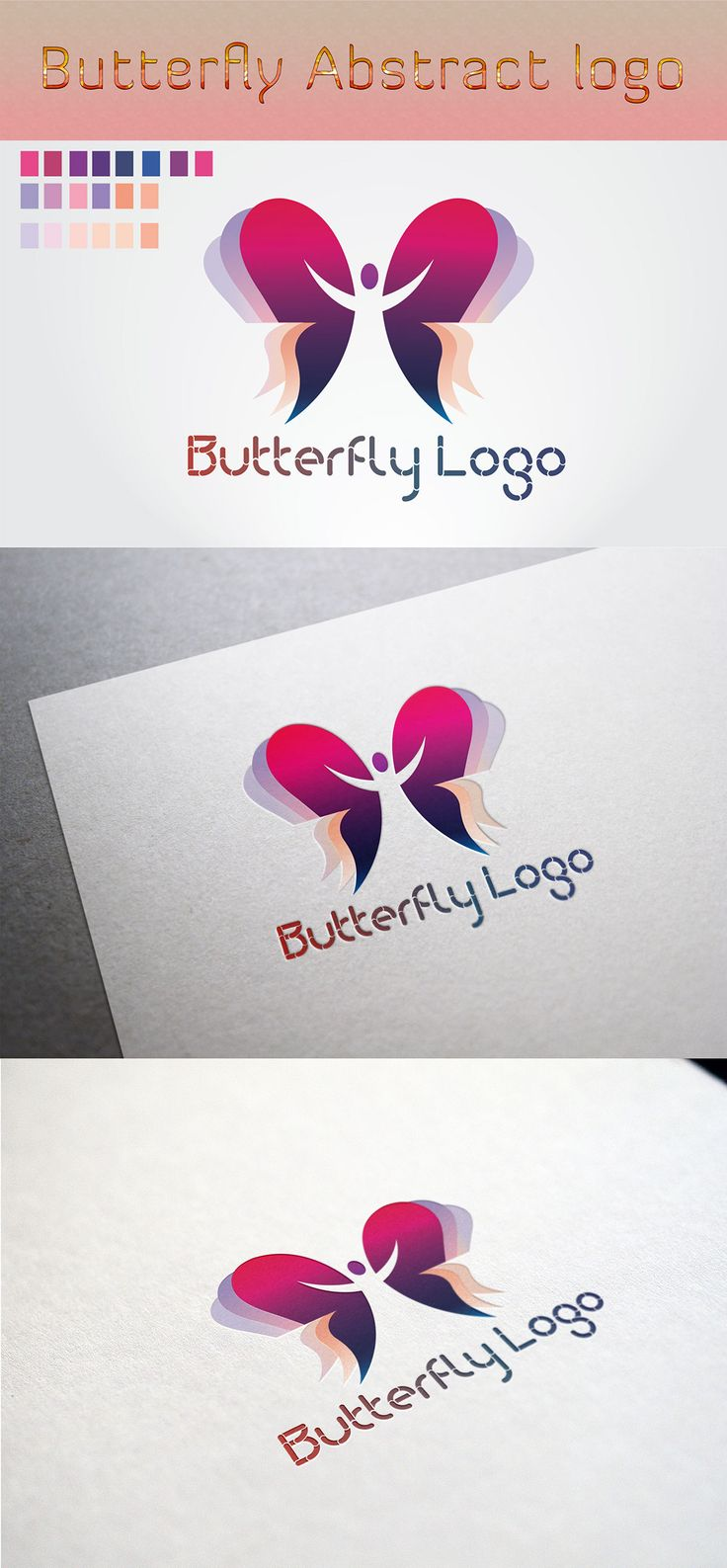 Logotype butterfly and letter b in different colour variants on a - Butterfly Abstract Logo On Behance