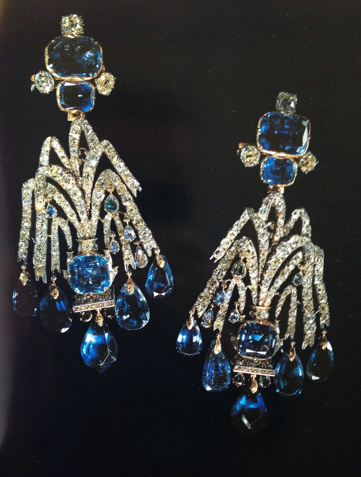 Sapphire and Diamond earrings. Made for in the late 18th.c and worn by every Russian Empress up until the Russian revolution.