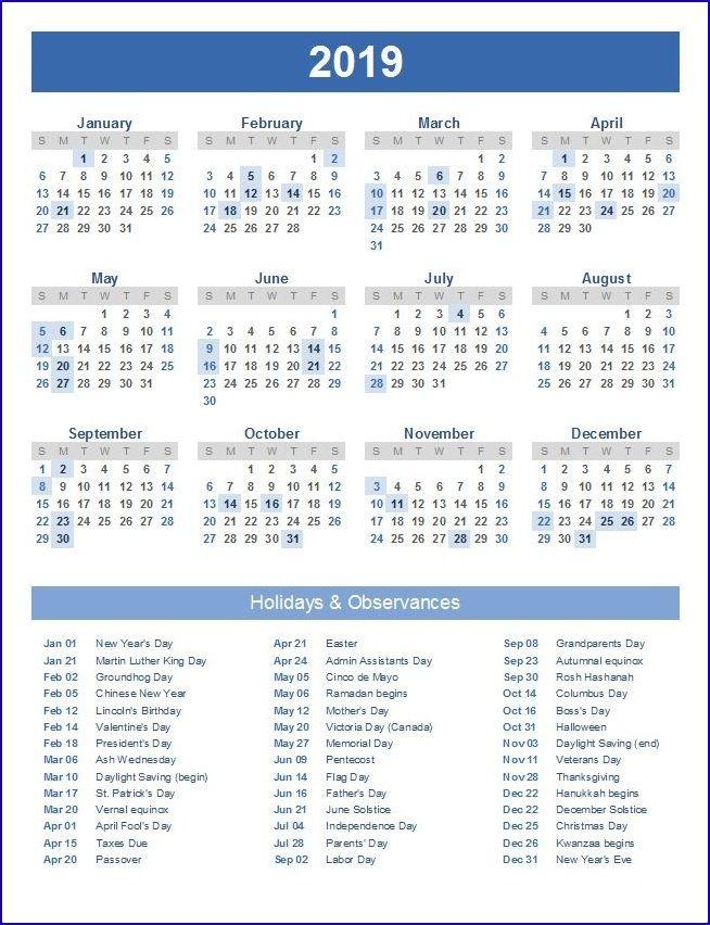 Printable Calendar 2019 Excel | 12 Month Calendar in One ...
