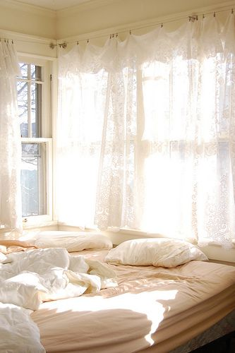 Ideas for window treatments reminds me of the curtain hangers ive seen at ikea the welcoming sun saying good morning shining through the lace white