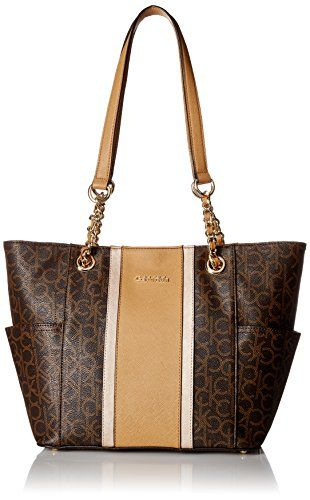 8e70a89457 Calvin Klein Key Item Chain Monogram Tote, Brown Combo *** Visit the image  link for more details.