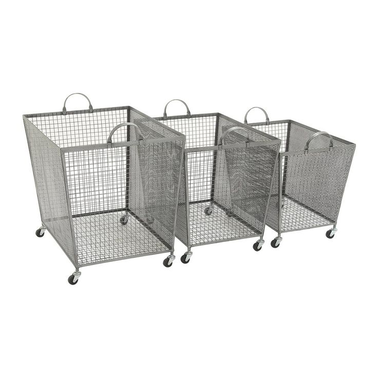 woodland imports superb metal roll storage bins set of 3 - Metal Storage Containers