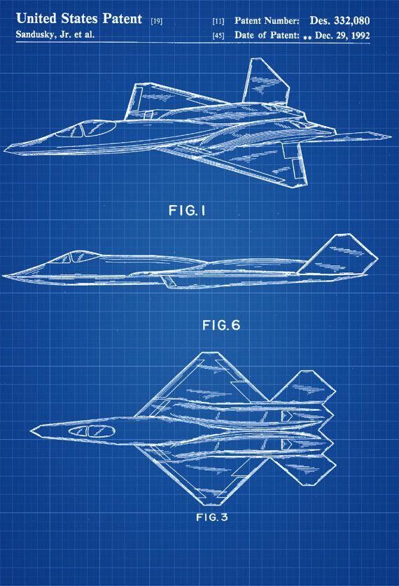 YF-23 Airplane Patent - Airplane Blueprint Aviation Art Airplane Art  Pilot Gift Aircraft Decor Airplane Poster Northrop Air Force by PatentsAsPrints