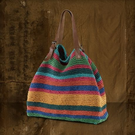 crochet boho bag | Ralph Lauren Striped Cotton Crochet Bag in Multicolor (bright multi ...