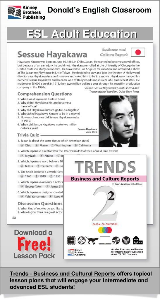 Sessue Hayakawa - One of the richest stars in Hollywood! This PDF file includes 3 pages of student worksheets. Trends, Book 2, brings you 30 topical Business Reports that will entertain, inform, and prompt your adult intermediate and advanced students toward lively discussions. Utilizing charts, graphs, puzzles, surveys, and discussion activities, students explore and compare cultural, business, and language matters.  $1 on TpT  #ESL #EFL #ELL