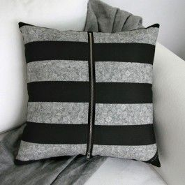 Stunning designer cushion / scatter cushion by boutique designer brand, Billy Heckenberg.  The Grey and Black Striped cushion cover features a beautiful, on trend monochrome design. This luxury, scatter cushion has been designed and made locally in Australia. The cushion cover is digitally printed on a canvas linen blend fabric and is beautifully finished. Each designer cushion features designed finishes such as a signature corner tag and is finished with a high quality large, ...