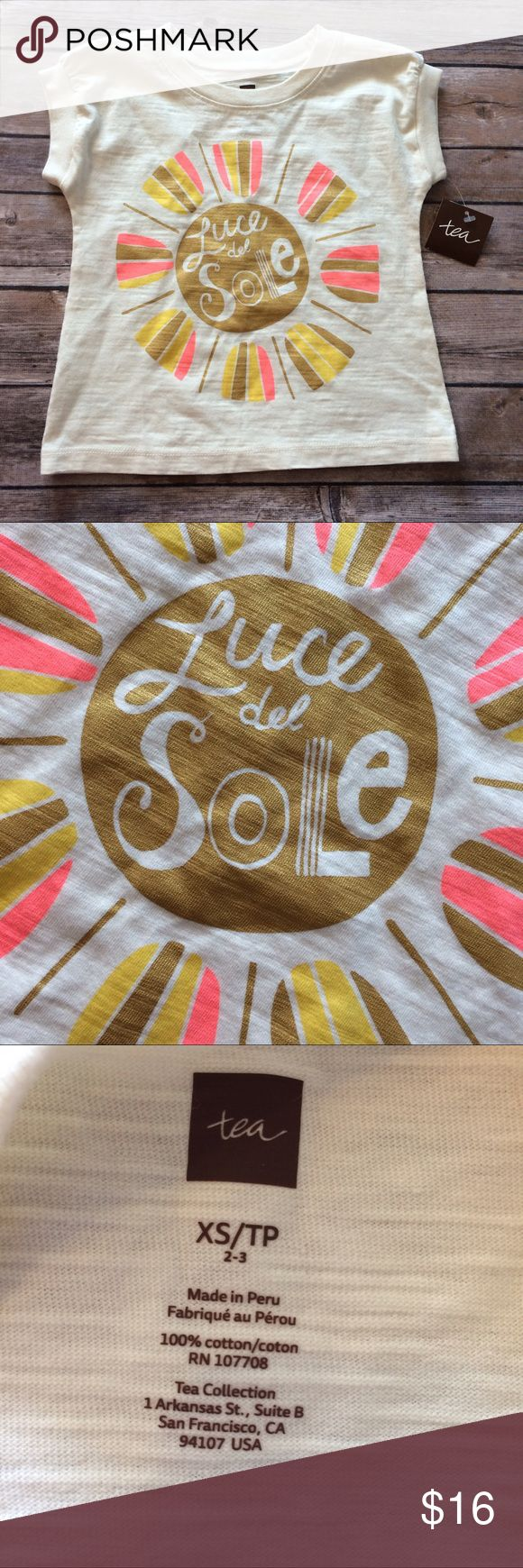 Tea Collection luce del sole shirt size 2-3 Short sleeve Luce del sole shirt. Pale yellow or offwhite. Features gold/pink/yellow sun. Tag size 2-3 and runs short/toward the lower end of the range imo. New with tags! Smoke free dog friendly home. Always a bundle discount in my closet. Tea Collection Shirts & Tops