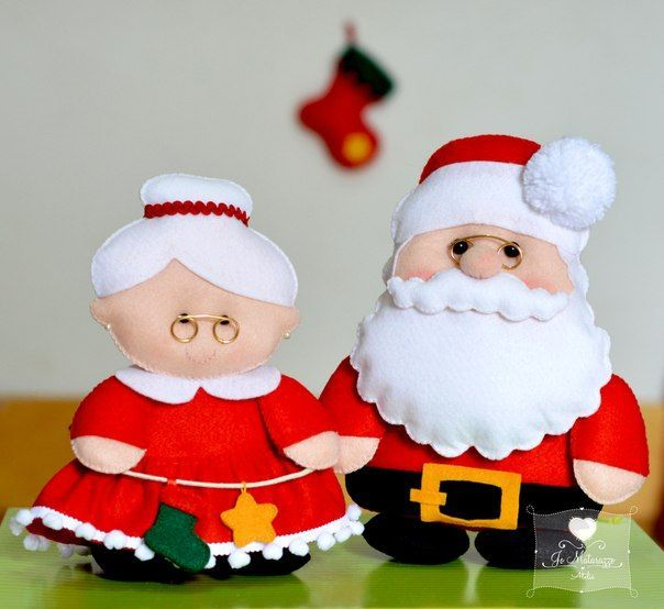 Molde para hacer adornos en fieltro de la Señora Claus