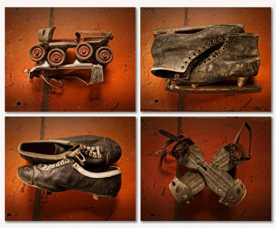 Set of 4 Vintage Sports Memorabilia Prints by LocustGrovePhotos