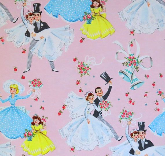 Vintage Pink WEDDING Gift Wrap - Wrapping Paper - BRIDE and GROOM - with Coordinating Gift Tag - 1950s