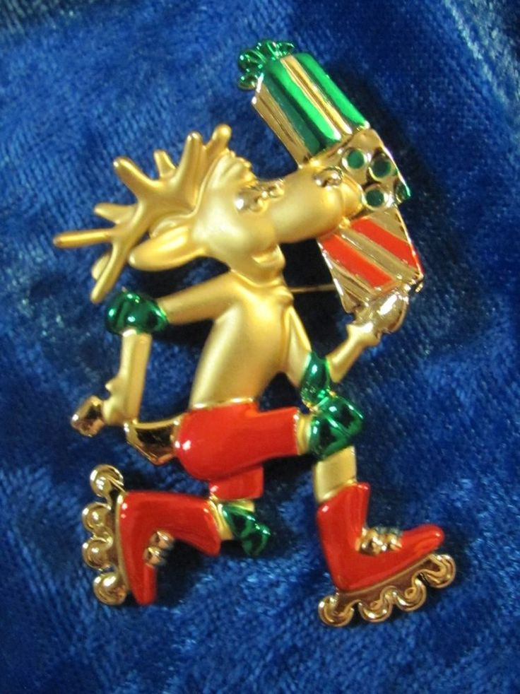 Vintage Danecraft Reindeer on Roller Skates Christmas Brooch Pin #Danecraft