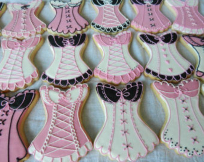 Custom Decorated Corset Cookie for Bridal Showers, Lingerie or Bachelorette Parties (#2345)