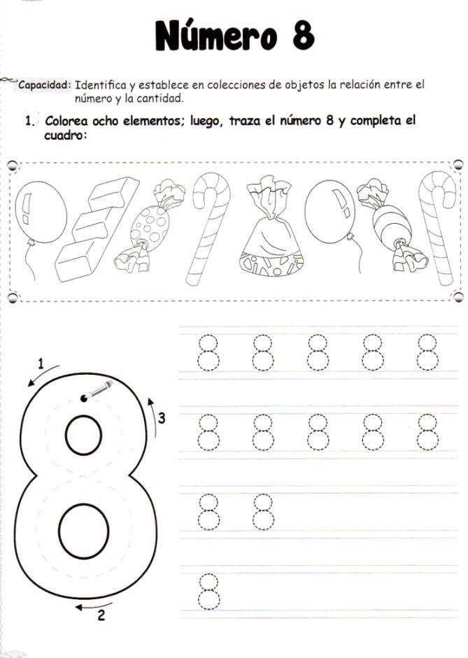 El número 8: 5 años - Material de Aprendizaje