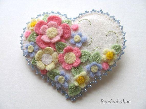 Felt Heart Pin / Felt Heart Brooch by Beedeebabee on Etsy, $26.00