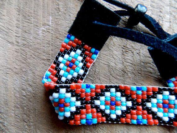 Aztec bead loom native american bracelet by TabeasTreasures
