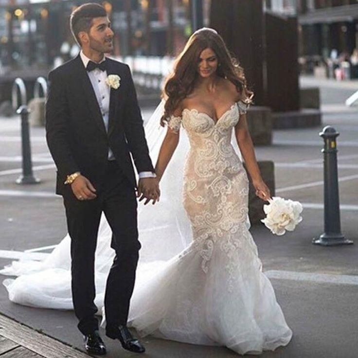 Luxuoso do vintage Alças Sext Sereia frisada vestidos de noiva com laço das pérolas longos vestidos de casamento 2016 vestido de noiva W262