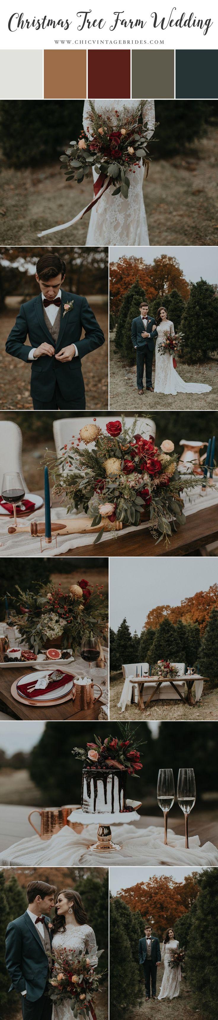 Modern-Vintage Christmas Tree Farm Wedding Inspiration in Garnet & Copper