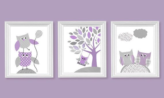 Owl Nursery Purple and Gray Decor for Baby Girl's Room Lavender Lilac Baby Shower Gift Toddler 8 x 10 or 11 x 14 prints canvas