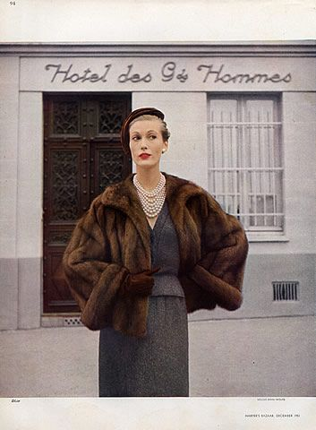 Christian Dior (Fur clothing) 1951 Photo Louise Dahl-Wolfe