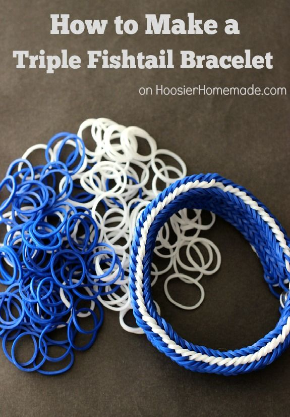 How to Make a Triple Fishtail Rubber Band Bracelet | Directions on HoosierHomemade.com