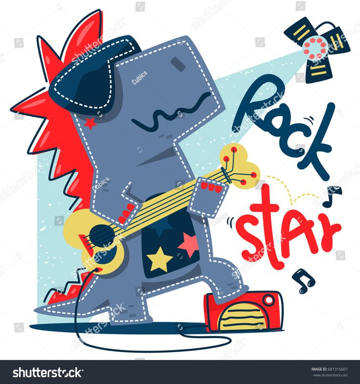 Funny cartoon t-rex rock star guitar player stand on stage isolated on white background illustration vector, design for kids t-shirt.