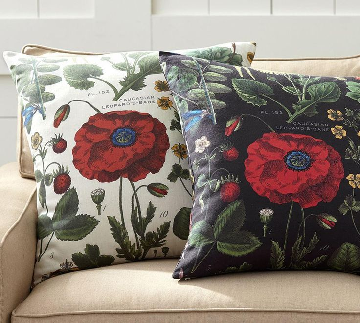 Poppy Botanical Print Cushion Cover